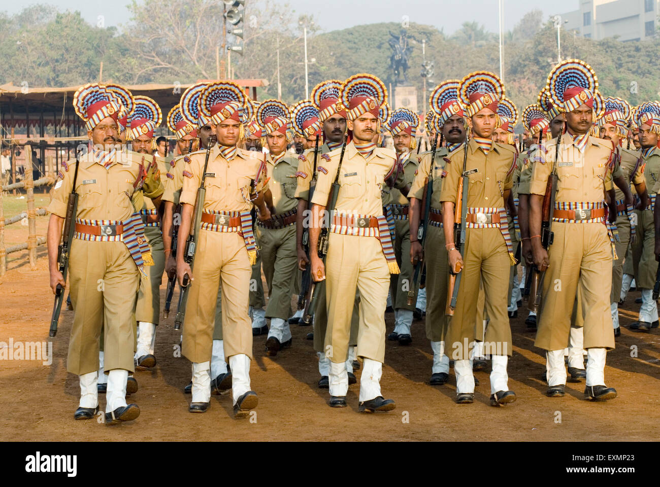 Policemen parade on 26th January at Dadar Shivaji Park ground ; Bombay Mumbai ; Maharashtra ; India - Stock Image