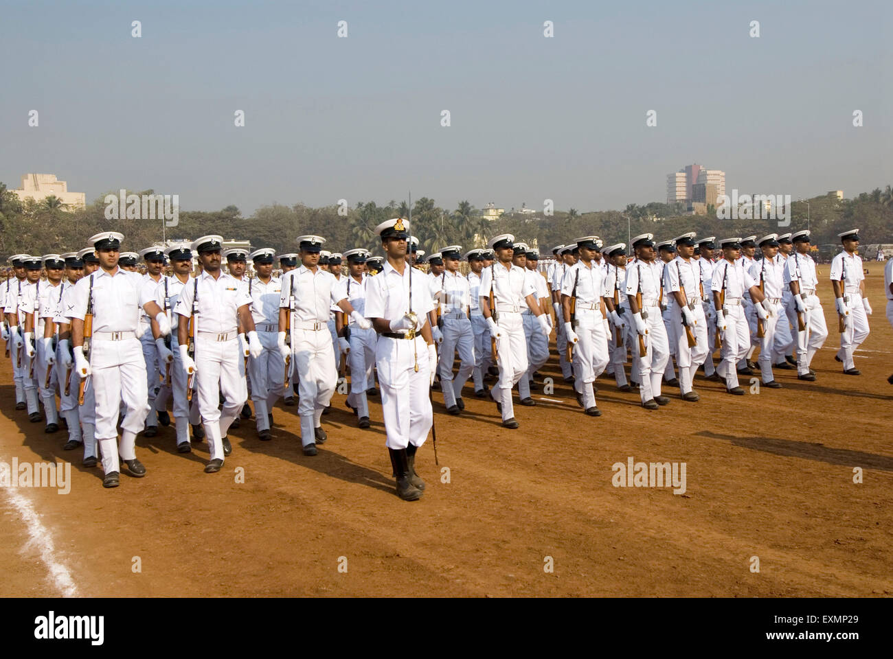 Navy parade on 26th January at Dadar Shivaji Park ground ; Bombay Mumbai ; Maharashtra ; India - Stock Image