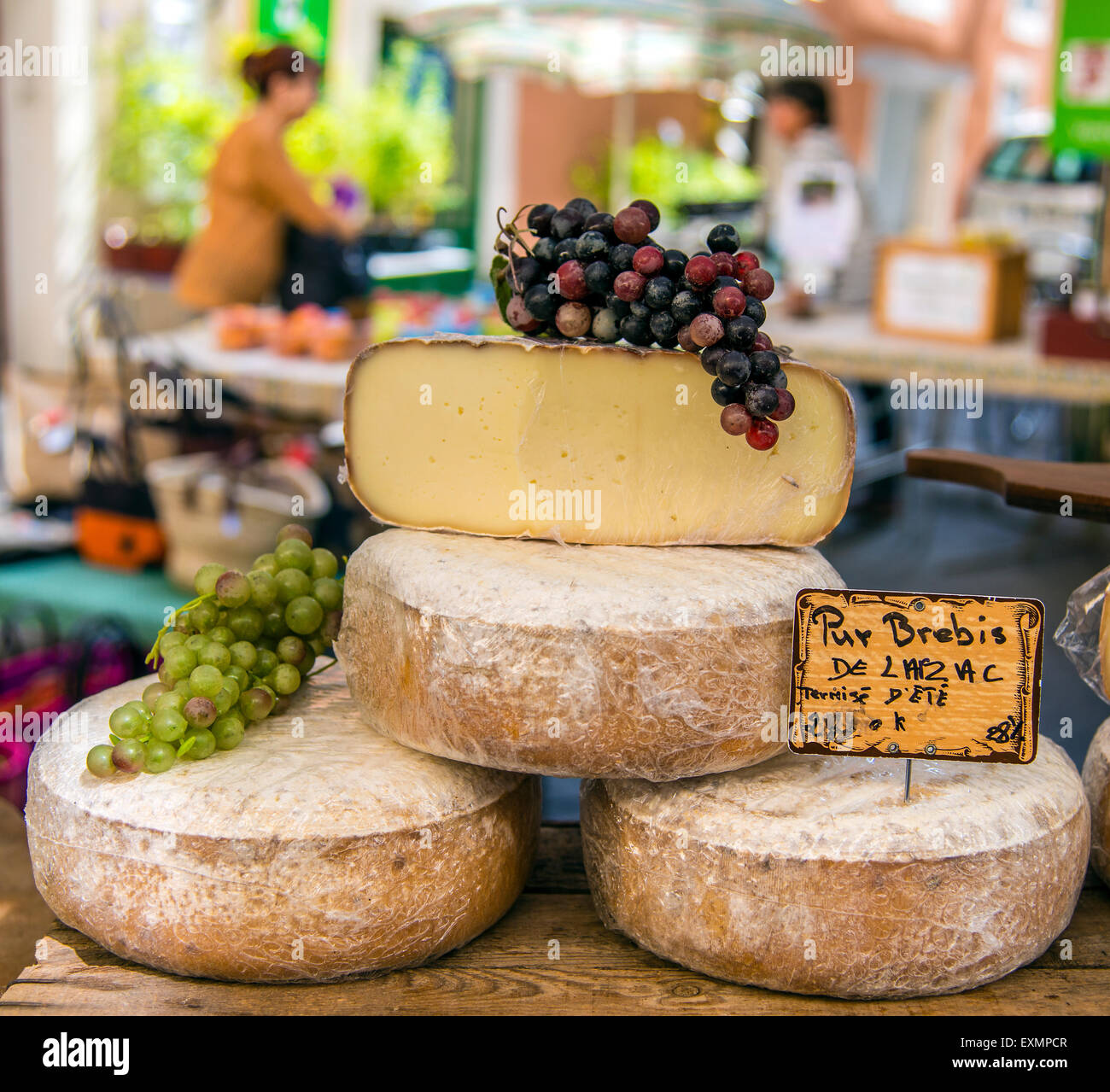 Local cheeses on sale at the market, Saint-Remy-de-Provence, Provence, France - Stock Image