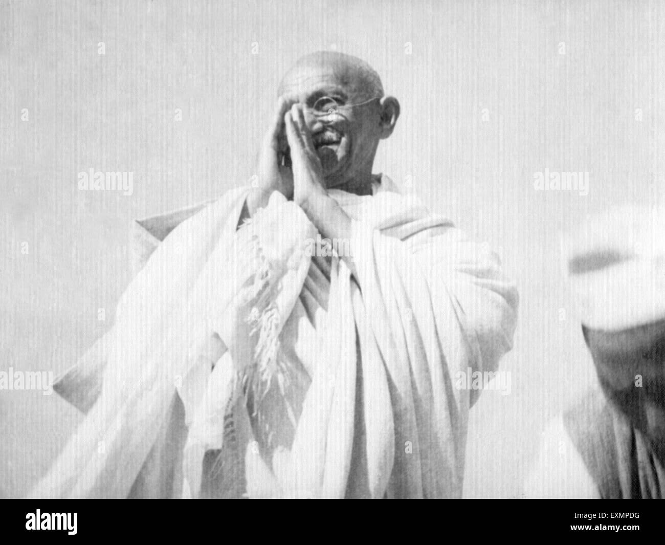 Mahatma Gandhi in greeting pose in Madras ; 1946 ; India - mkg 146300 - Stock Image