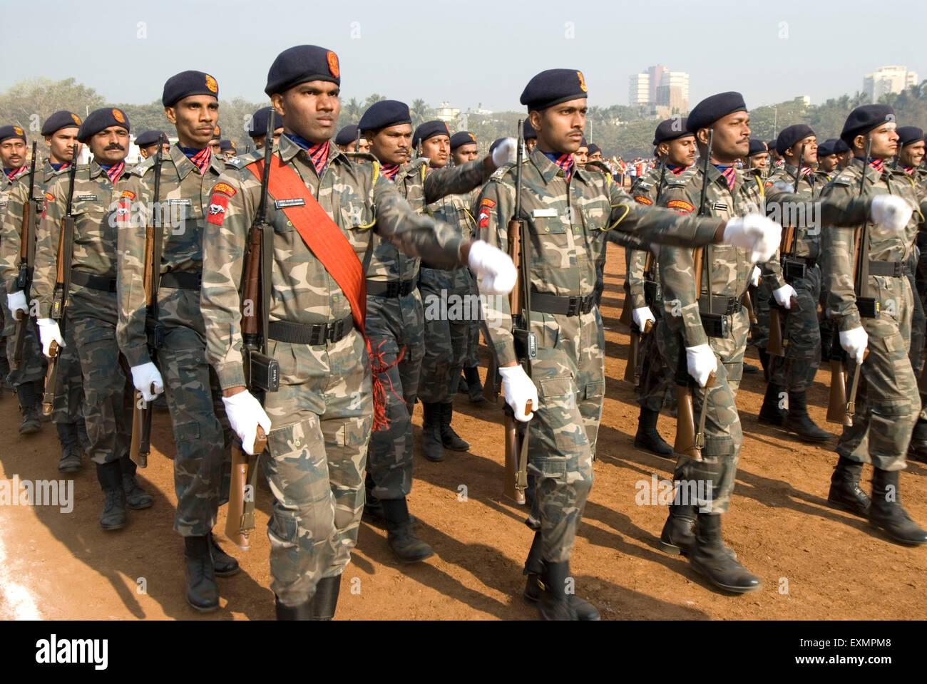 Army parade of 26th January at Dadar Shivaji Park ground ; Bombay Mumbai ; Maharashtra ; India - Stock Image