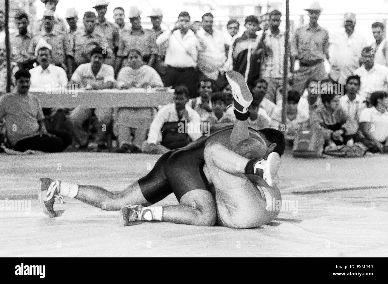 All India competition of wrestling held in Mysore during the Dussera celebrations Karnataka India 2007 - Stock Image