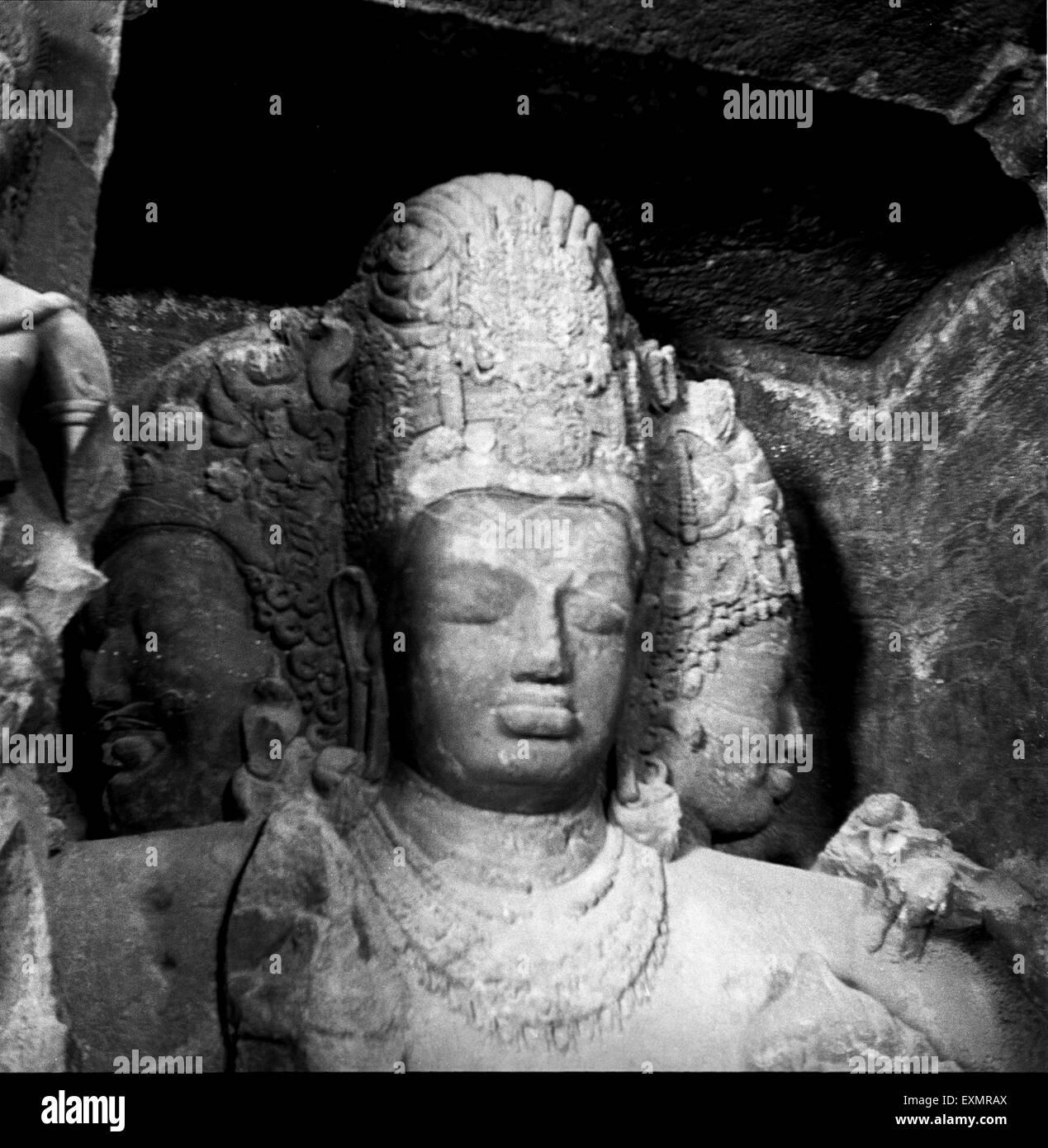 God Shiva Statue in Elephanta cave ; bombay mumbai Maharashtra ; India - Stock Image