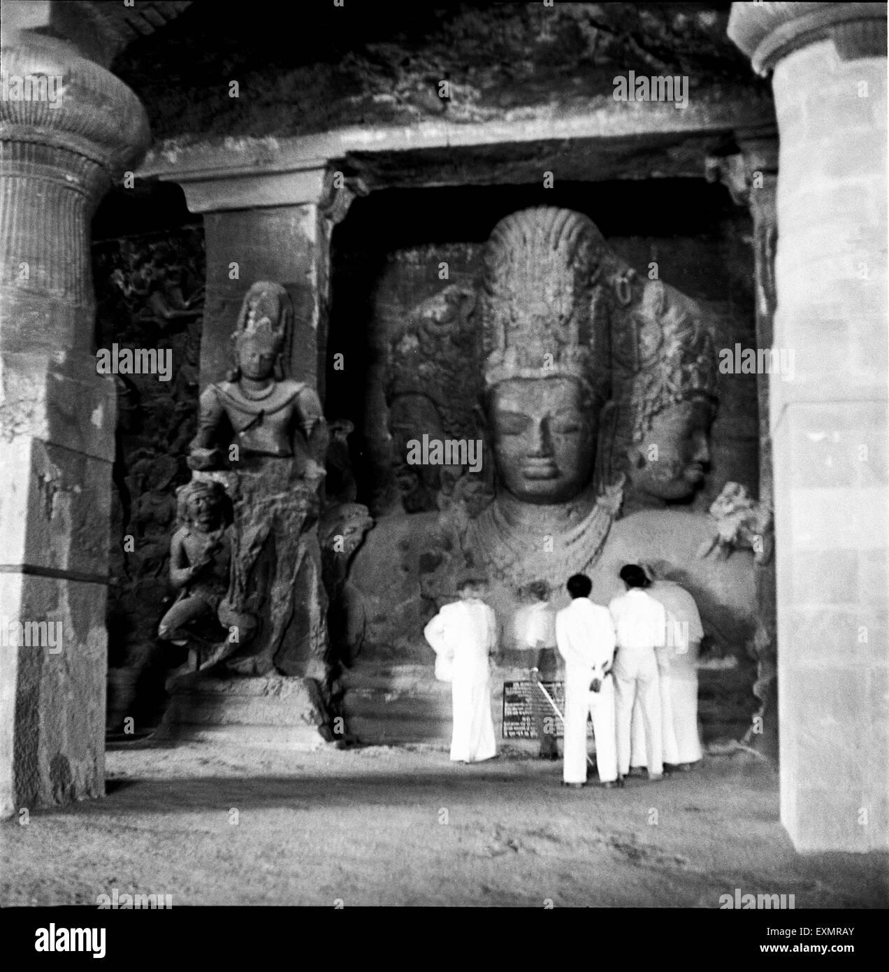 God Shiva Statue in Elephanta cave bombay mumbai Maharashtra India - Stock Image