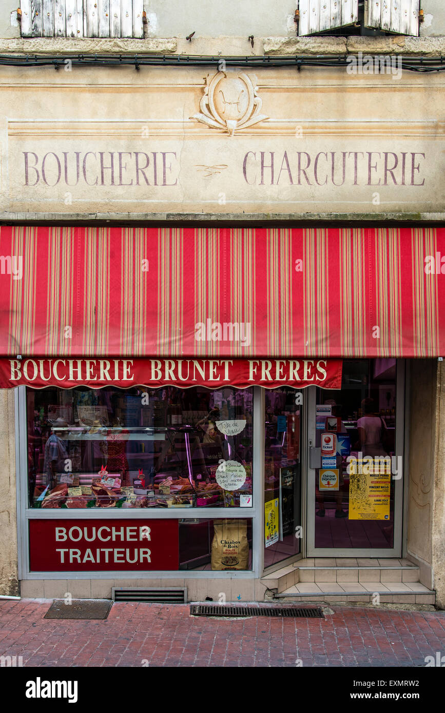 Old boucher charcutier or butcher shop in Carpentras, Provence, France - Stock Image