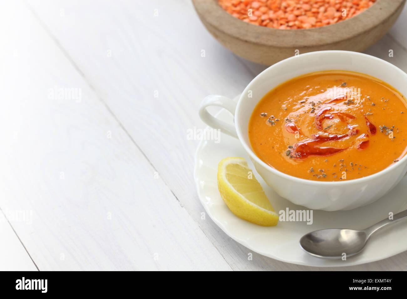 red lentil soup, mercimek corbasi, turkish cuisine - Stock Image