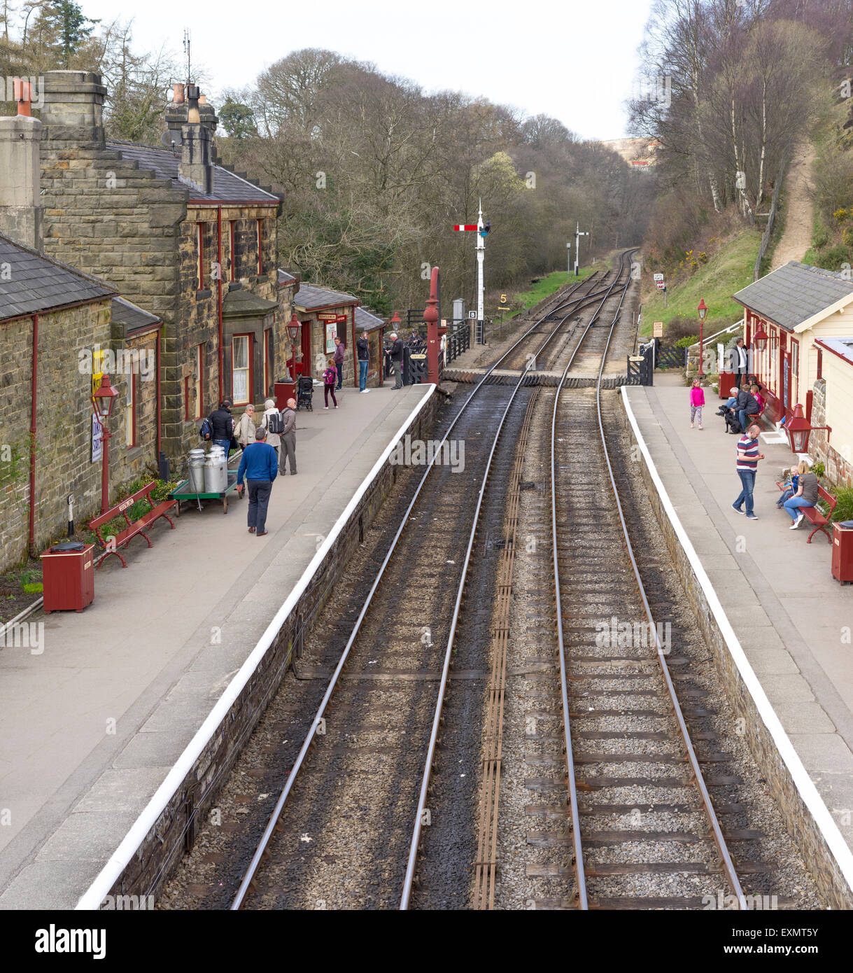 View from the bridge, overlooking the railway track at Goathland, North Eastern railway station - Stock Image