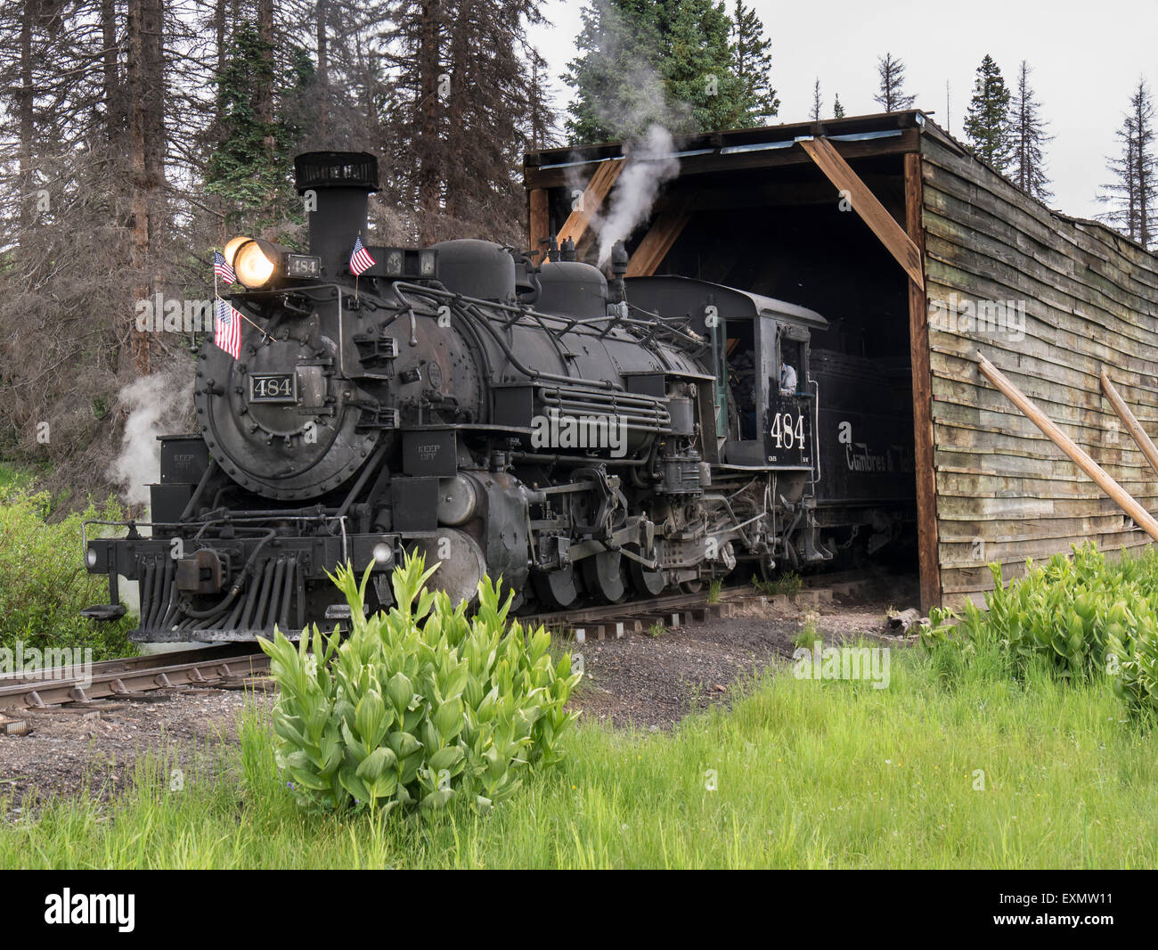 Steam locomotive 484 in the Cumbres Pass snowshed, Cumbres & Toltec Scenic Railroad, Chama, New Mexico to Antonito, - Stock Image