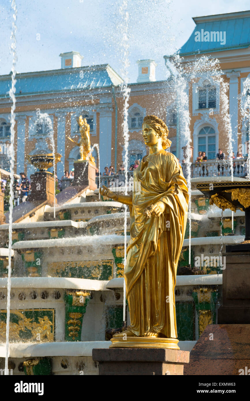Fountains of the Grand Cascade At Peterhof Palace, Saint Petersburg, Russia - Stock Image