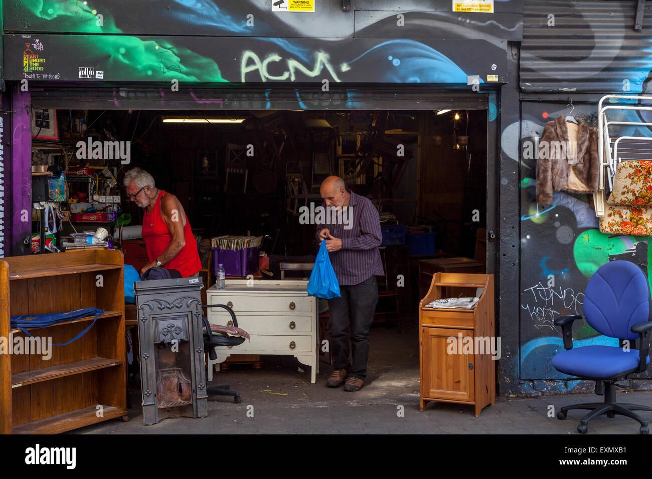 Second Hand Shop, Brick Lane, London, Engalnd - Stock Image