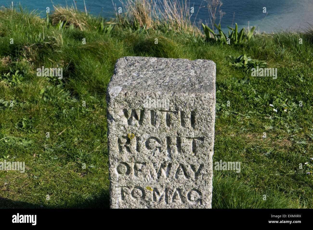St Ives, Cornwall, England. Right of Way stone marker. - Stock Image