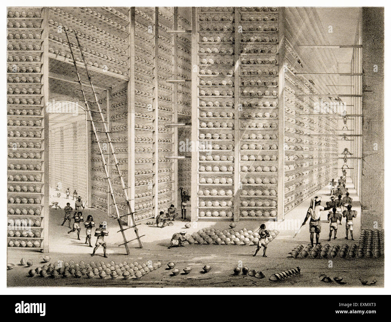 'The Stacking Room' , opium balls or cakes at the British East India Company's Opium factory at Patna, - Stock Image