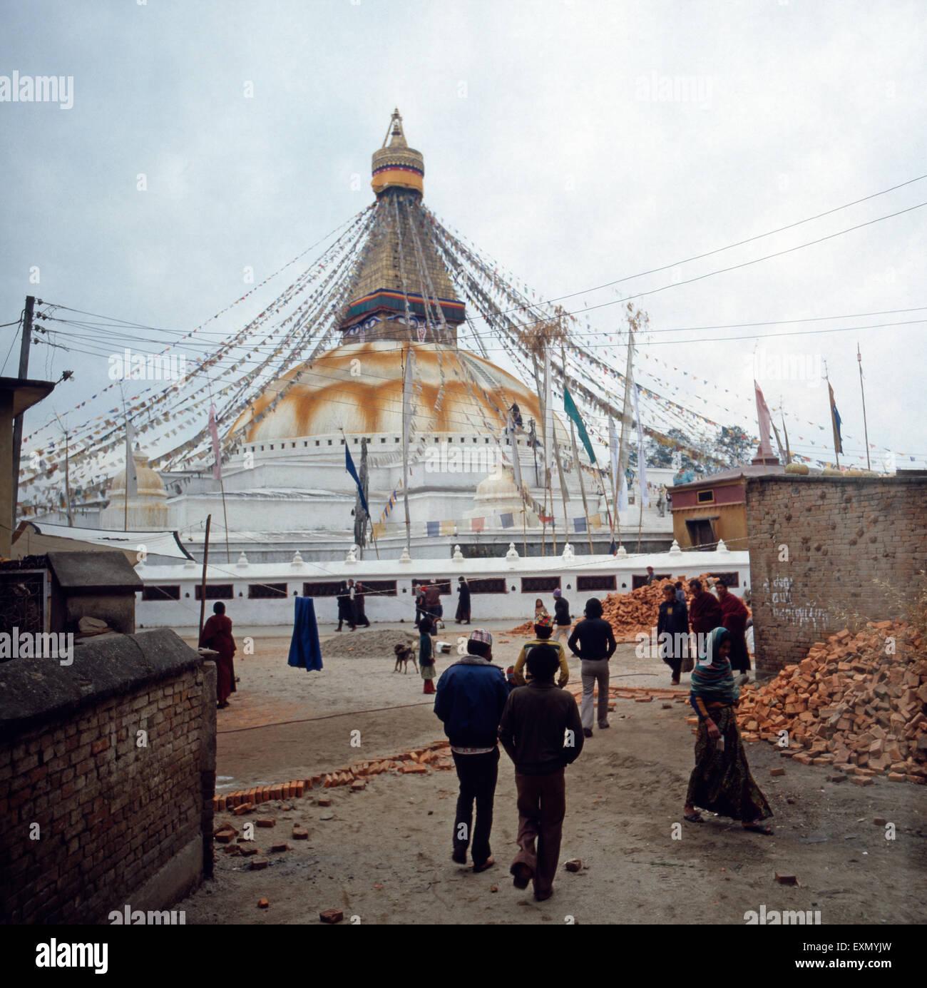Boudhanath Stupa Tourists Kathmandu Nepal Stock Photos & Boudhanath Stupa Tourists Kathmandu