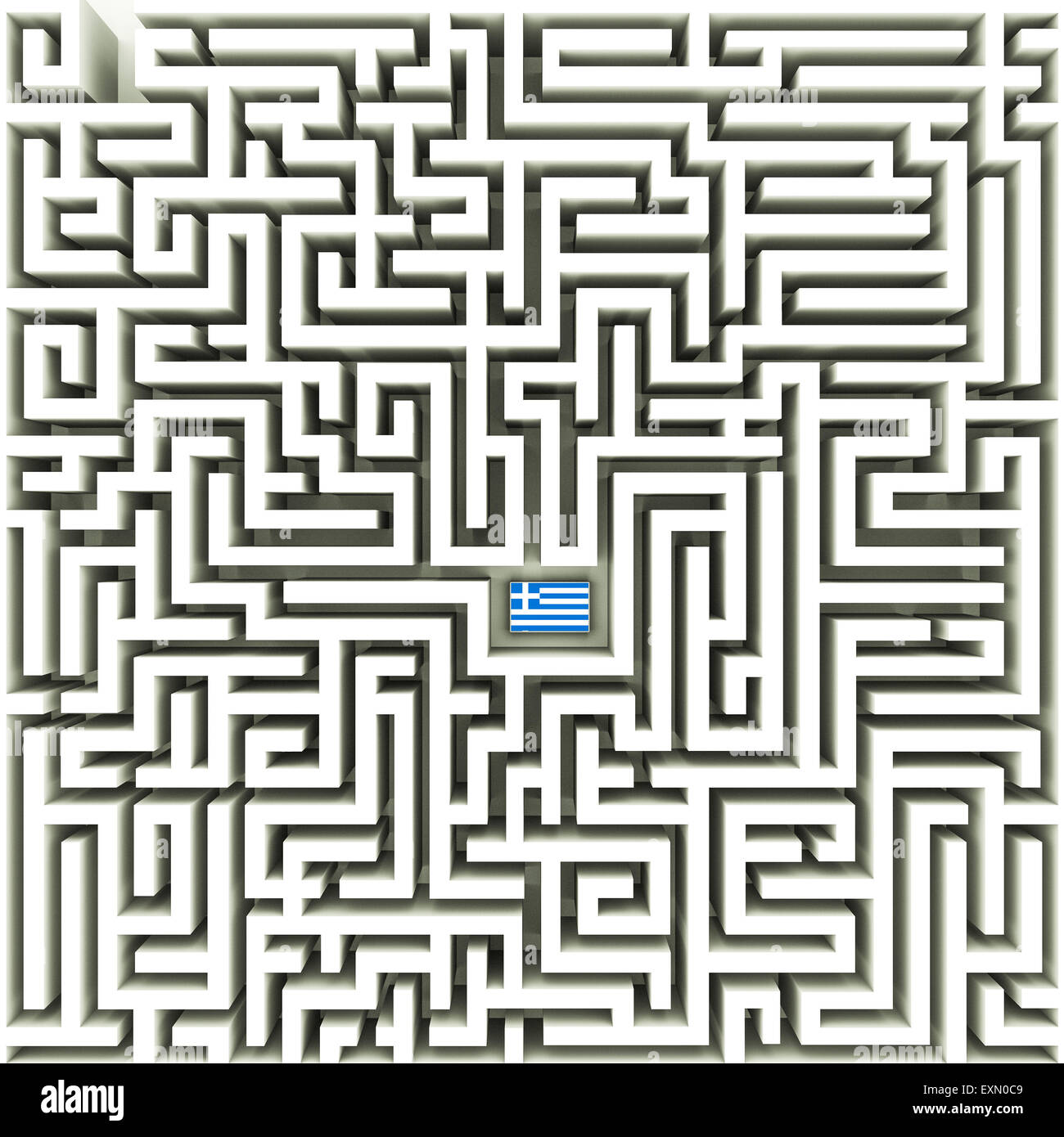Greek flag in a complex maze Stock Photo