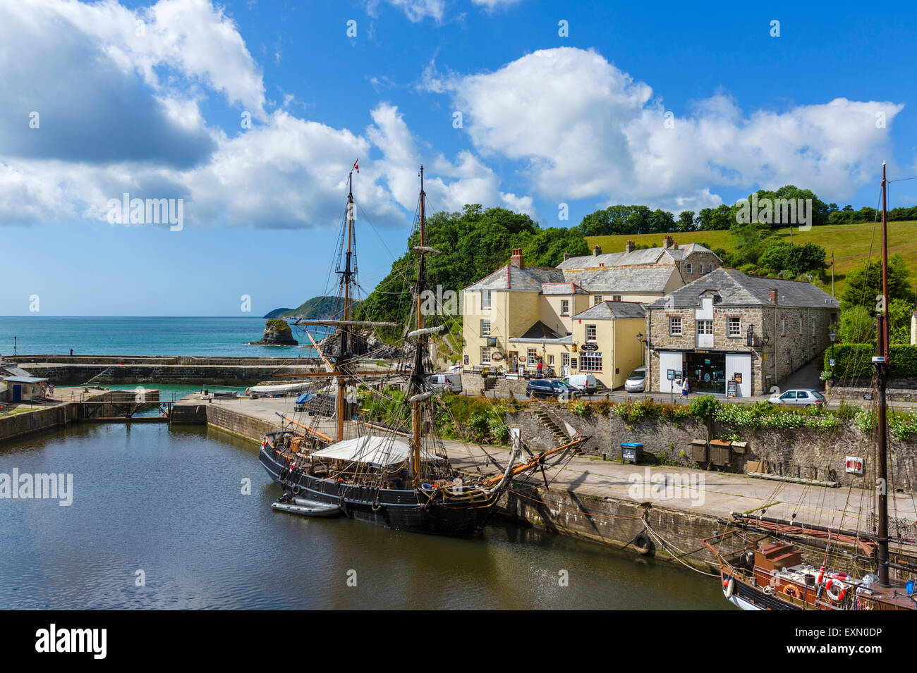 The harbour in the village of Charlestown, St Austell Bay, Cornwall, England, UK - Stock Image