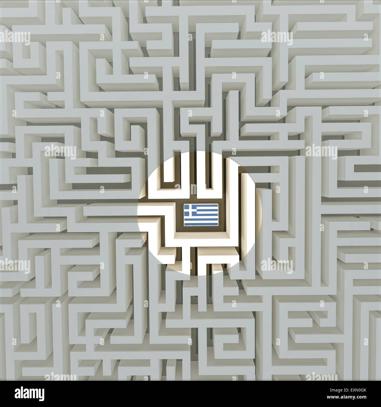 Greek flag in a maze Stock Photo
