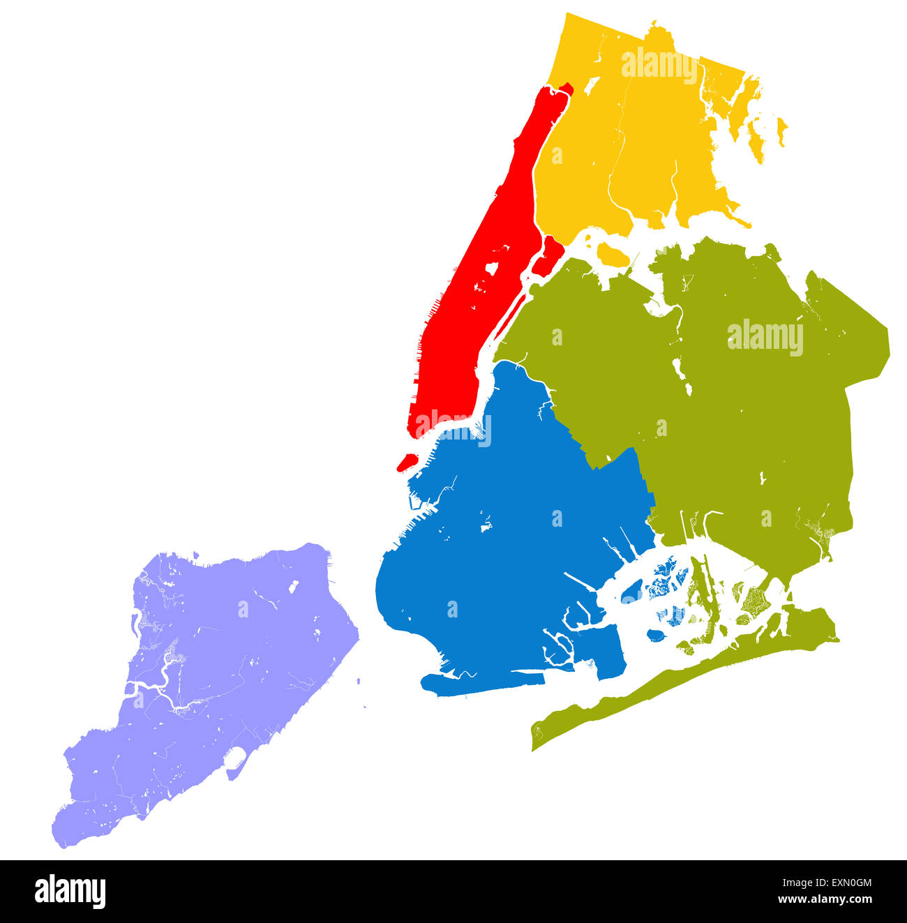 Map Of New York Five Boroughs.Five Boroughs Of New York City Outline Map Stock Photo