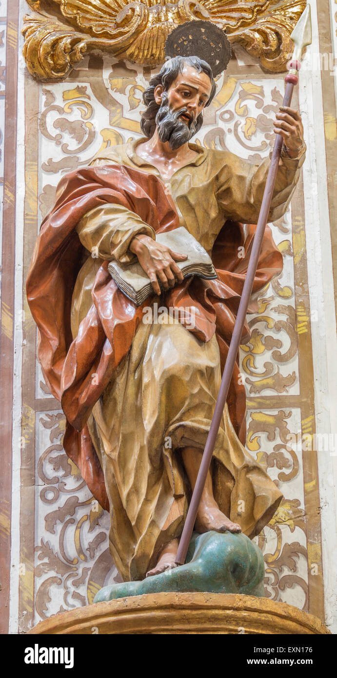 GRANADA, SPAIN - MAY 29, 2015: The the carved statue of st. Thomas the apostle in church Nuestra Senora de las Angustias - Stock Image