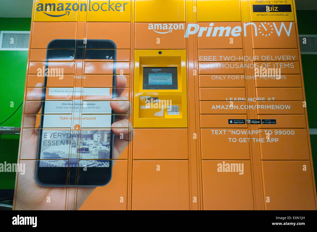 An Amazon Locker pick-up station in a convenience store New York on Saturday, July 11, 2015. The lockers, placed - Stock Image