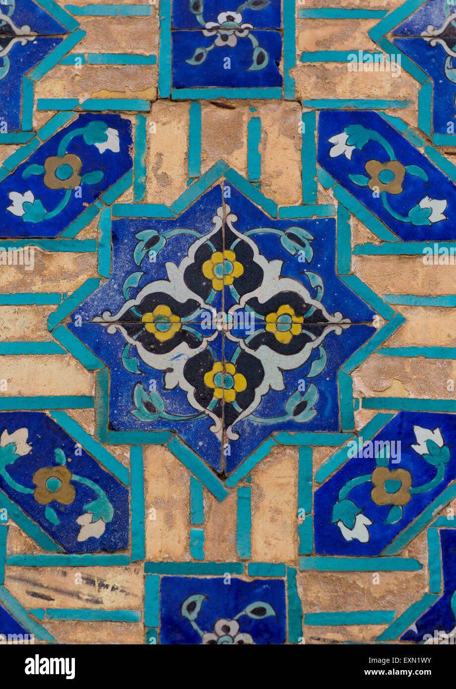 Mosaic Pattern With Ceramic Tiles In Friday Mosque, Isfahan Province ...