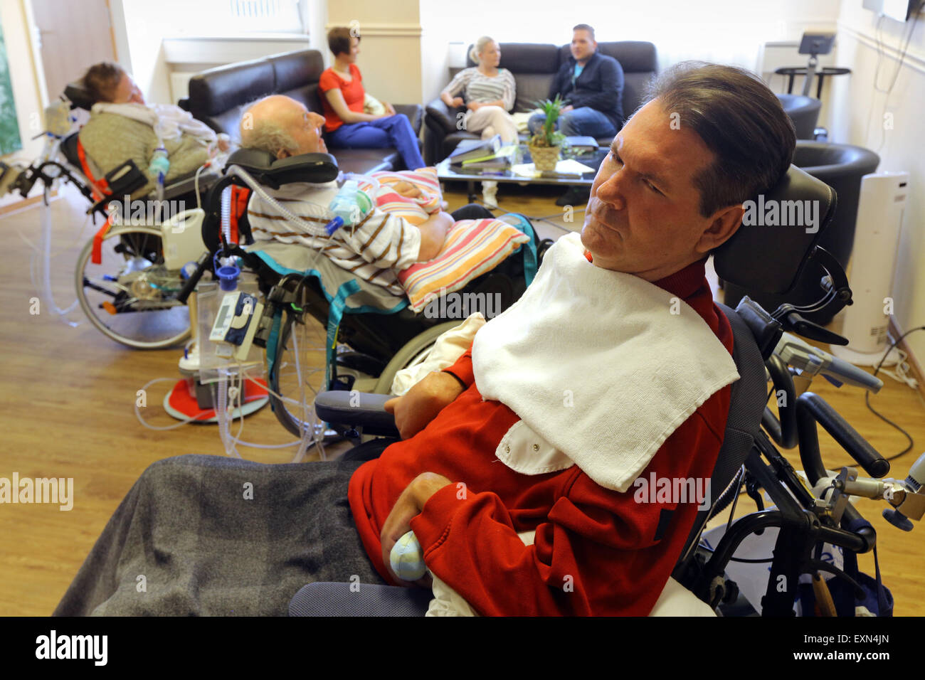 Patients in an artificial respiration unit in a care center in Essen/Germany - Stock Image