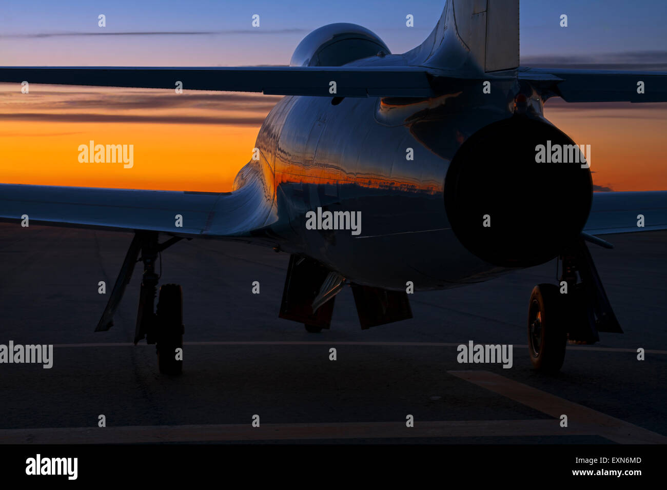 Lockheed T-33 Shooting Star at Sunset. - Stock Image