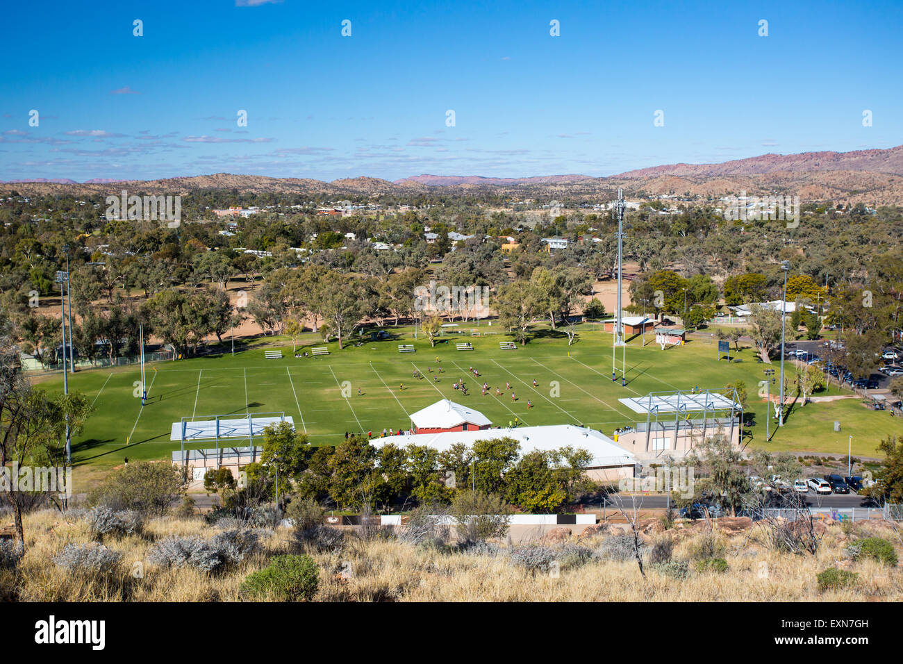 View from Anzac Hill over Anzac Park on a fine winter's day in Alice Springs, Northern Territory, Australia - Stock Image
