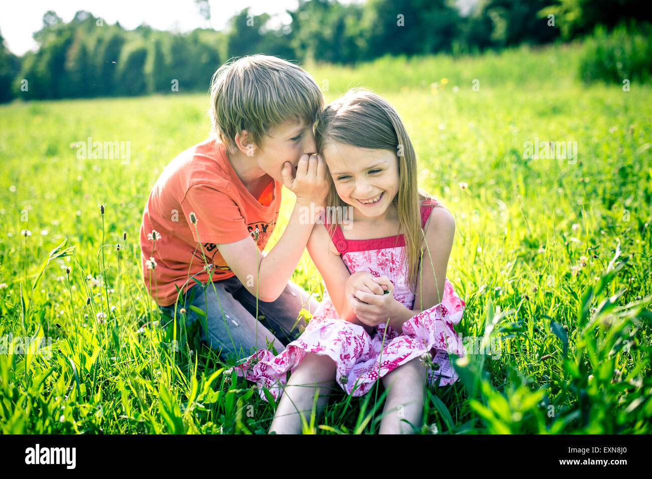 Boy whispering something in the ear of his sister Stock Photo