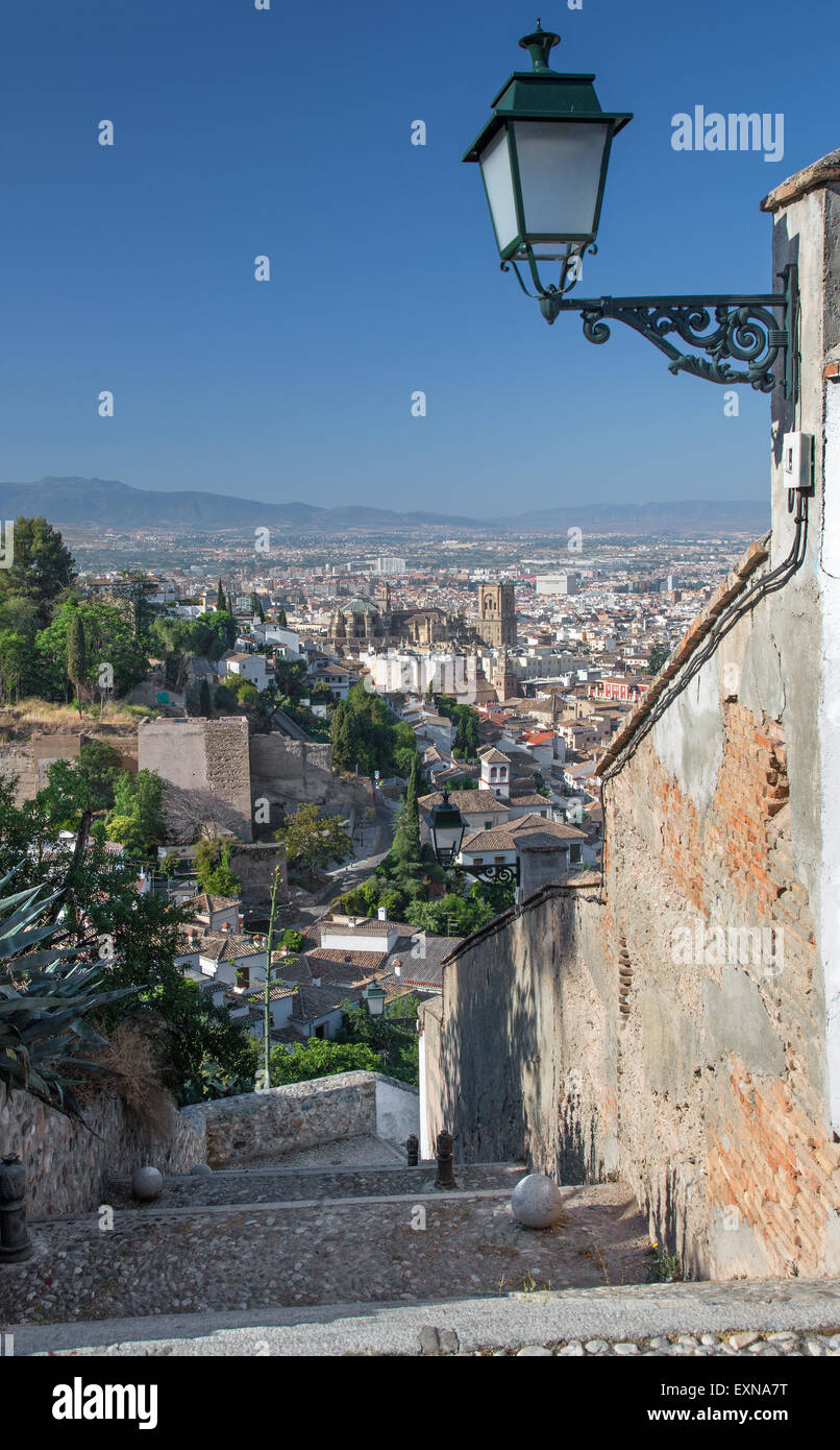 Granada - The outlook over the town with the Cathedral - Stock Image
