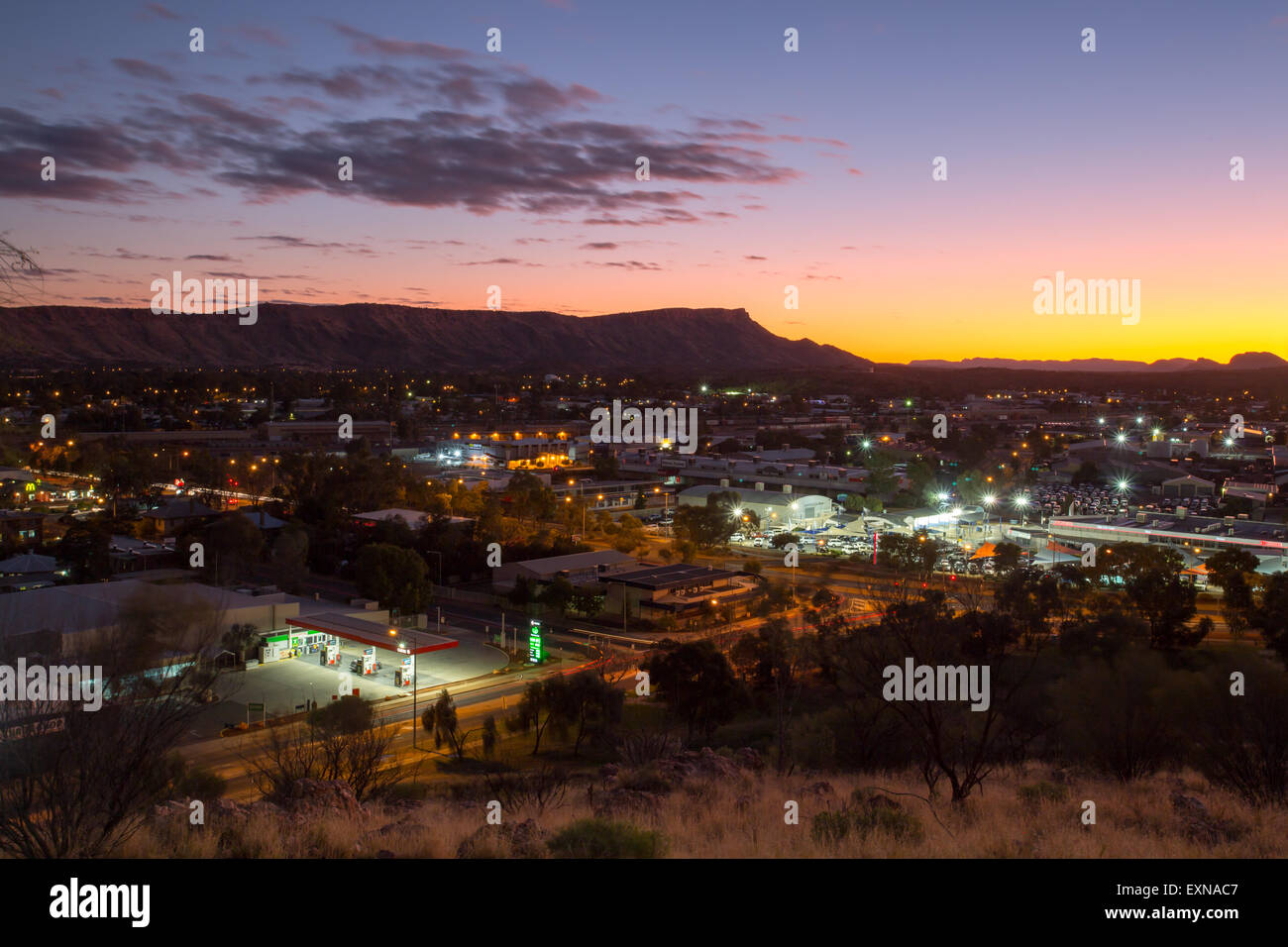 View from Anzac Hill on a fine winter's evening in Alice Springs, Northern Territory, Australia - Stock Image