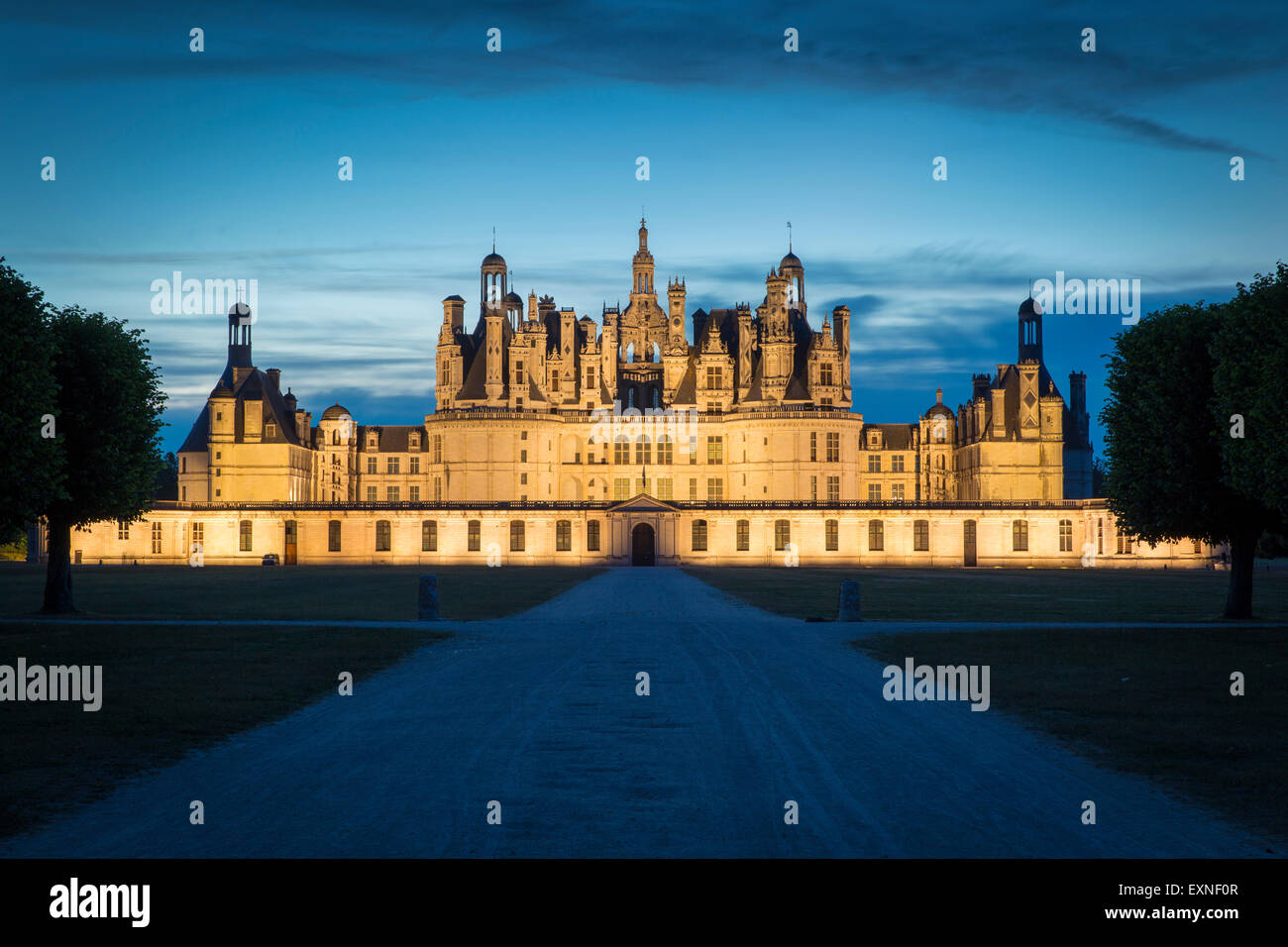 Twilight over the massive, 440 room, Chateau Chambord - originally built as a hunting lodge for King Francis I, - Stock Image