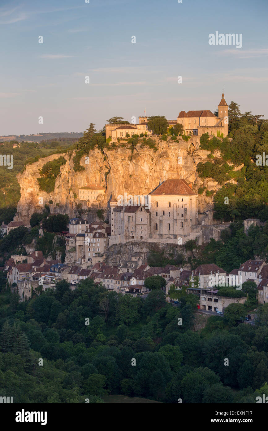 Sunrise over Medieval town of Rocamadour, Lot Department, Midi-Pyrenees, France - Stock Image
