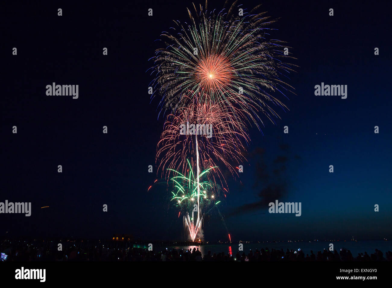 Fireworks display over the Naples Florida Pier near Marco Island and Fort Myers Stock Photo