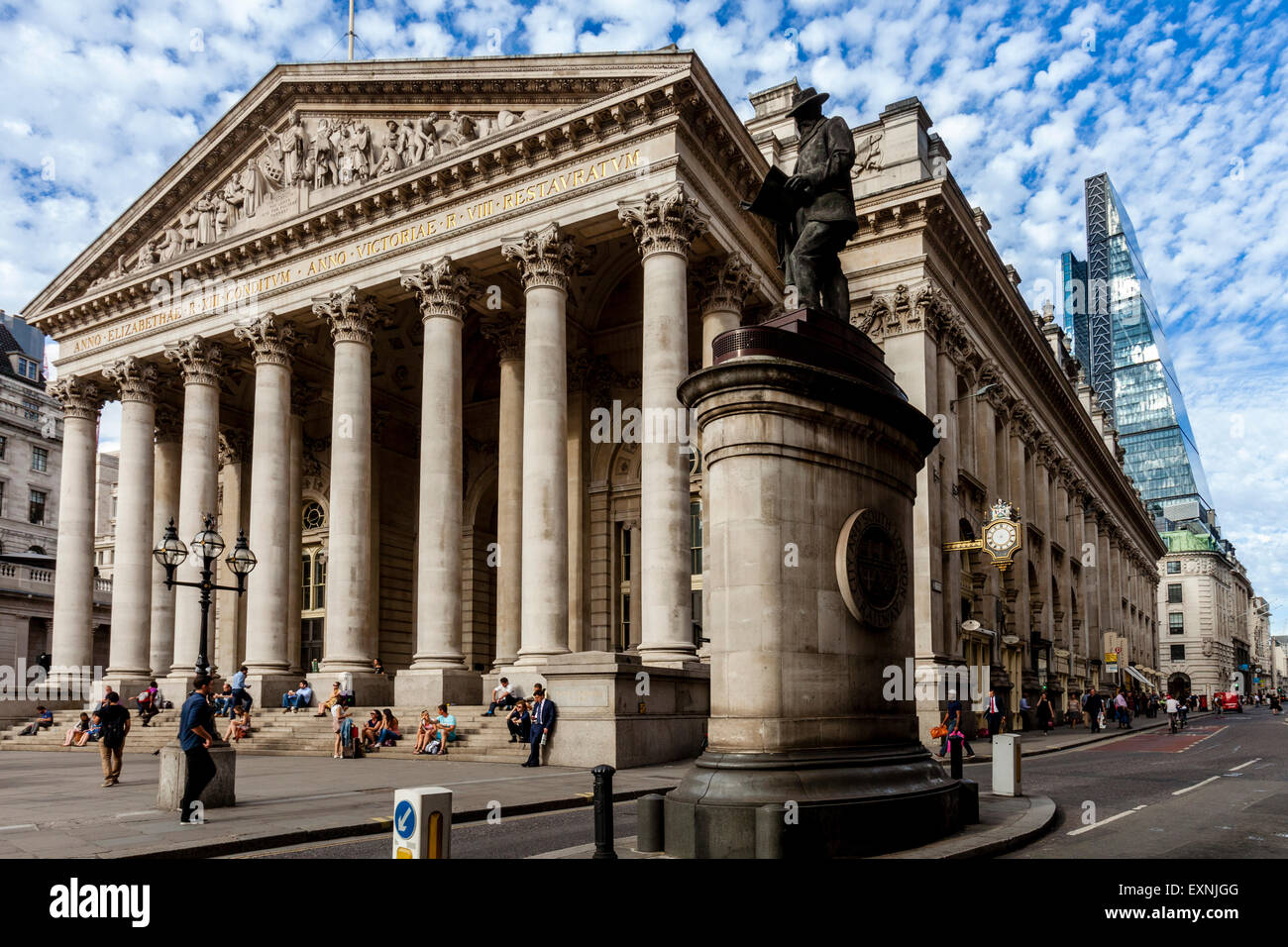 The Royal Exchange Building, London, England - Stock Image