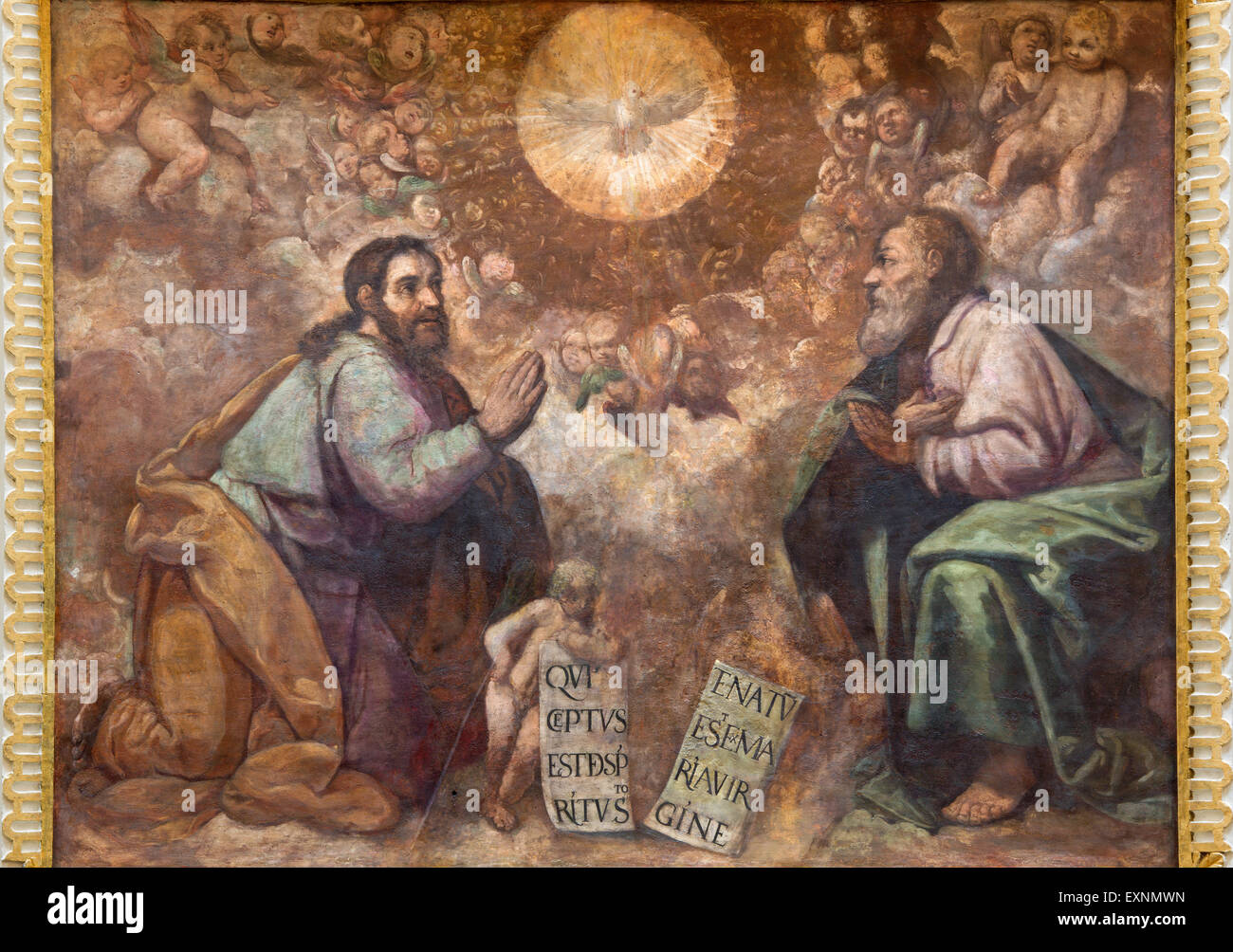 CORDOBA, SPAIN - MAY 27, 2015: The renaissance fresco of Holy Trinity in church Iglesia de San Lorenzo from 15. - Stock Image