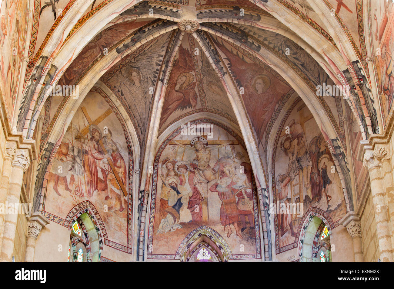 CORDOBA, SPAIN - MAY 27, 2015: The medieval frescoes of affliction of Christ in main apse of church Iglesia de San - Stock Image