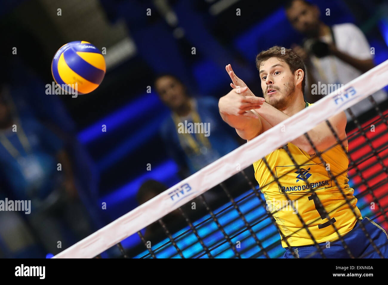 Rio De Janeiro, Brazil. 15th July, 2015. Brazil's Rezende Mossa spikes during a match between Brazil and France Stock Photo