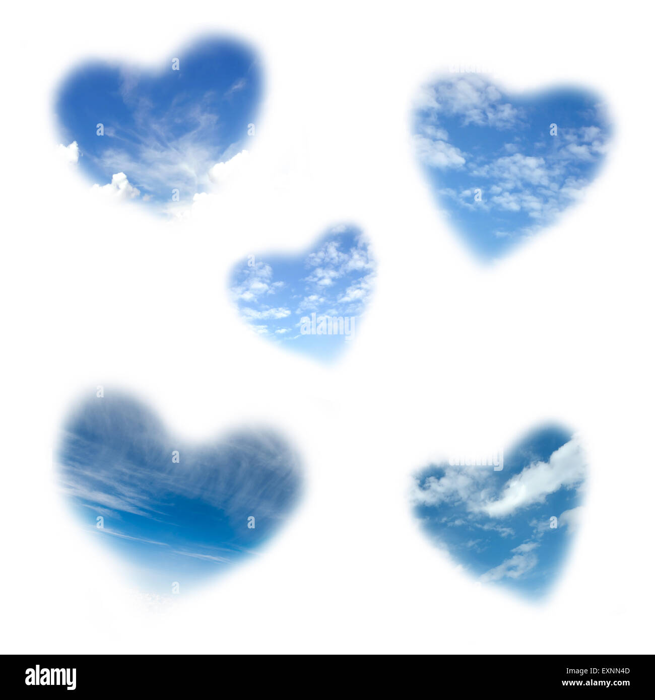 heart shape cloudy sky isolated on white background - Stock Image