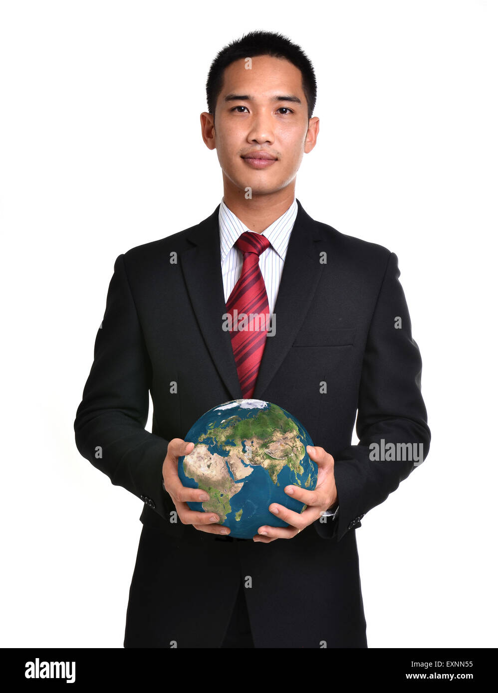 bussiness man hold the earth isolated on white background. Elements of this image furnished by NASA. - Stock Image