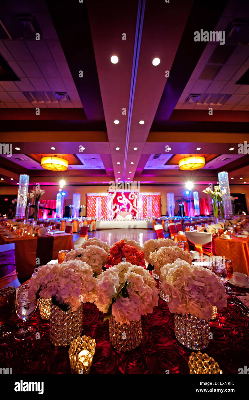 Image of a beautifully decorated ballroom for an Indian wedding reception Stock Photo