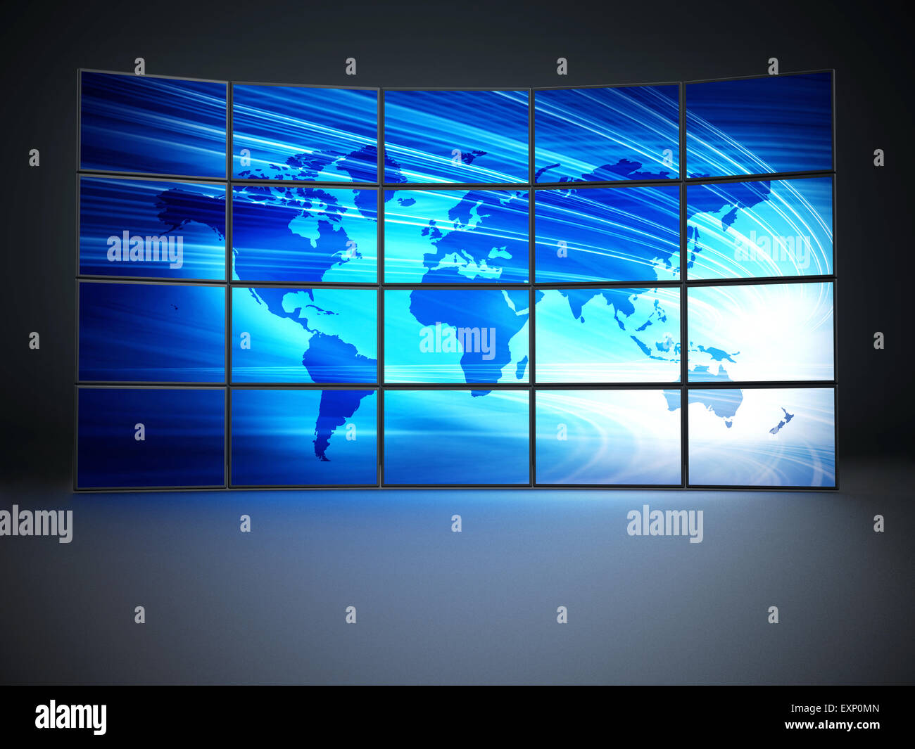 Screens with a blue world map forming video wall - Stock Image