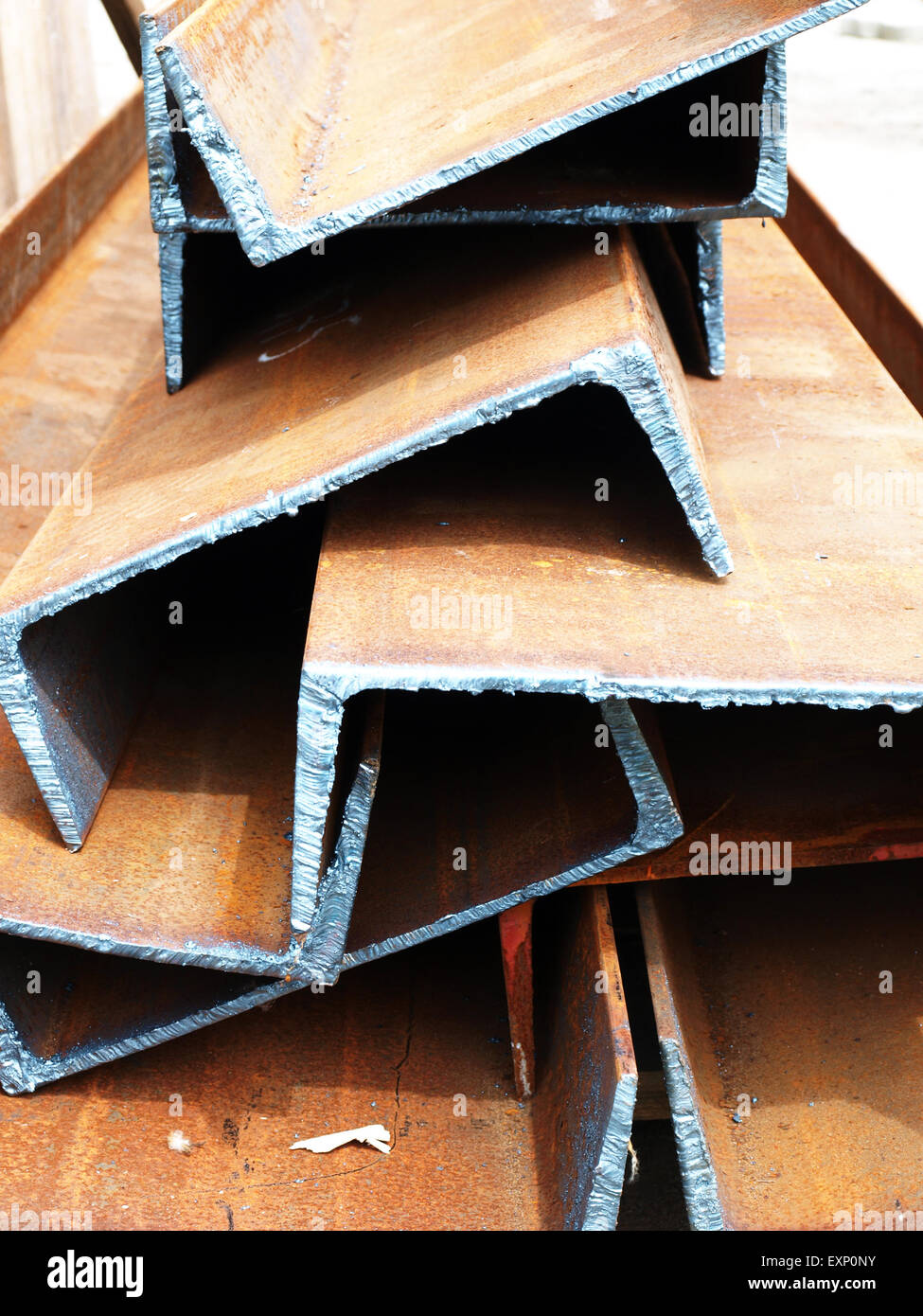 durable joists from steel closeup just cut on ground - Stock Image