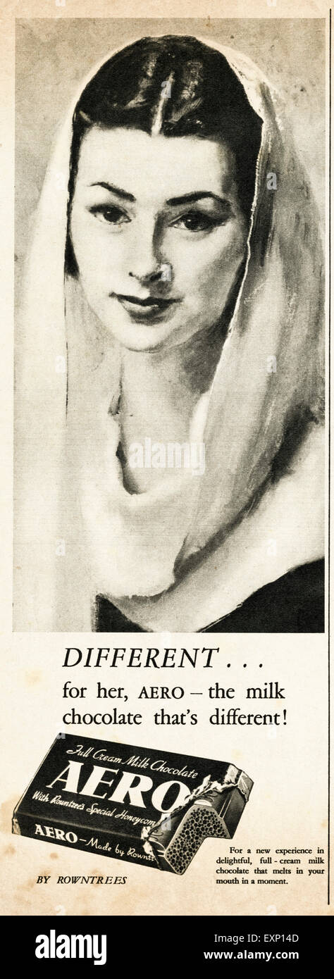 1950s advertisement circa 1951 magazine advert for AERO milk chocolate by Rowntrees - Stock Image