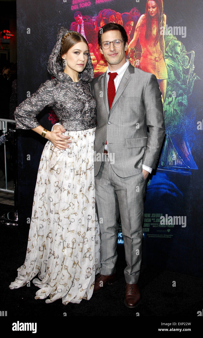 Joanna Newsom and Andy Samberg at the Los Angeles premiere of 'Inherent Vice'. - Stock Image