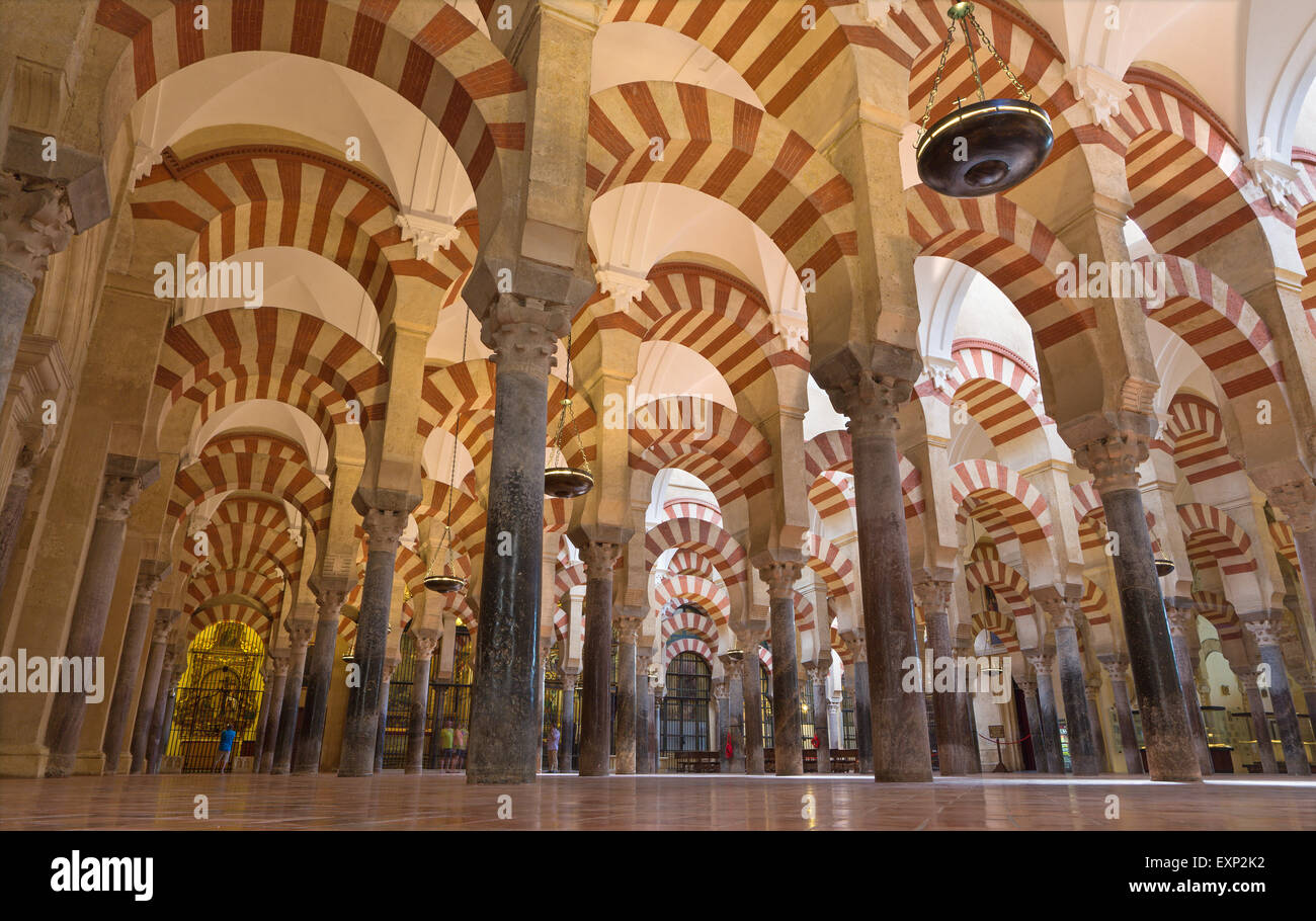 CORDOBA, SPAIN - MAY 28, 2015: The Naves of Abd-Ar-Rahman I in the Cathedral. - Stock Image