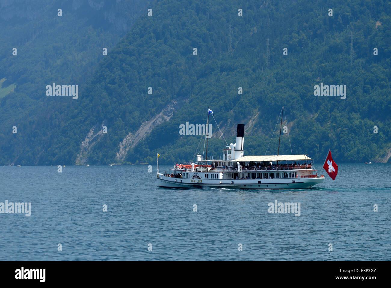 Salon side wheel steamer Schiller, Lake Lucerne, Canton of Schwyz, Switzerland - Stock Image