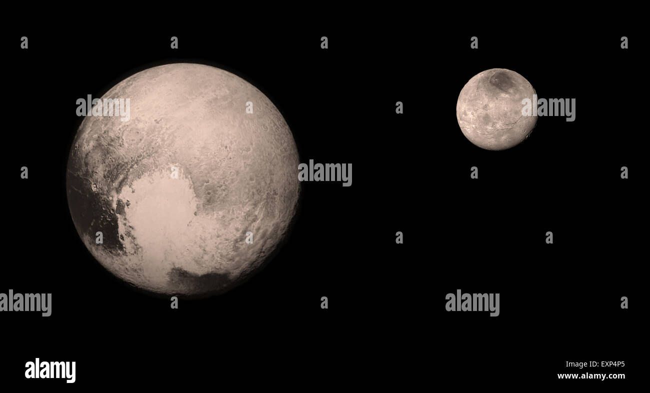 The planet Pluto (left) and its largest moon, Charon (right) Imaged individually by NASA's New Horizons mission - Stock Image