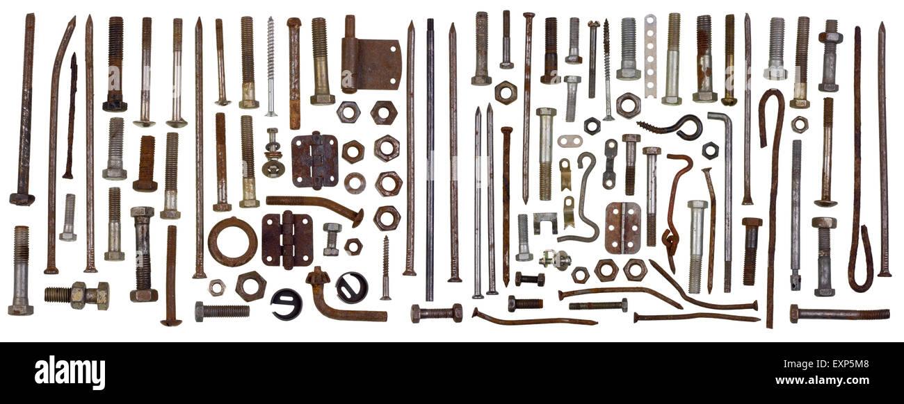 Fixing steel rusty metal elements - bolts, screws, bracket, nuts,  hooks big set. Isolated retro macro concept Stock Photo