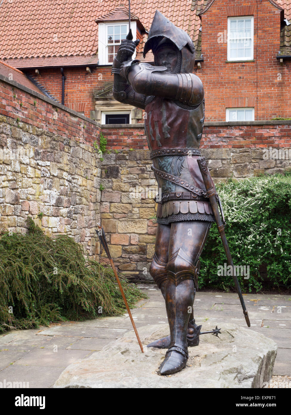 Sir Henry Percy Harry Hotspur 1364 to 1403 Statue on Pottergate in Alnwick  Northumberland England