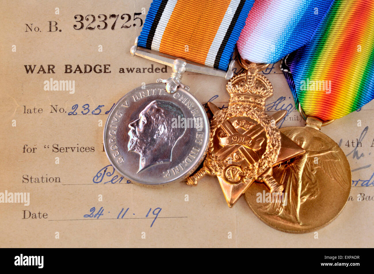 """First World War medals: """"Pip, Squeak and Wilfred""""  British War Medal; 1914 Star; Victory Medal (left to right) with Stock Photo"""